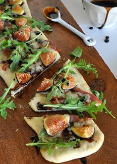 Prosciutto, gorgonzola and fig flat bread with balsamic reduction. I think we are going to have to try this one with Lucero Traditional Balsamic.