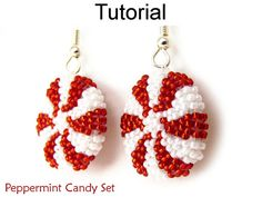 Beaded Christmas Jewelry Making Patterns and Tutorials - Holiday Peppermints - Simple Bead Patterns - Peppermint Candy Set Seed Bead Jewelry, Seed Bead Earrings, Diy Earrings, Hoop Earrings, Seed Beads, Christmas Earrings, Christmas Jewelry, Diy Christmas, Xmas