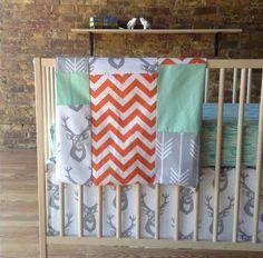 bumperless 3 piece crib bedding set in modern woodland on Etsy, $185.00...LOVE!