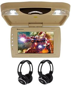 """Rockville RVD13HD-BG 13"""" Flip Down Car Monitor w DVD/HDMI/USB/SD/Games+Headsets. 13"""" Flip Down Car Monitor w DVD/HDMI/USB/SD/Games Tan. Widescreen TFT-LCD Overhead Monitor. Great for trucks, vans, SUVs, and other vehicles. Slot in DVD player with anti-skip mechanism. Overhead console with two super bright LED dome lights. Full function wireless remote / game controller (two-in-one). Native 32 bit game disc included (78 games). High Sense IR transmitter for wireless headphone connection...."""