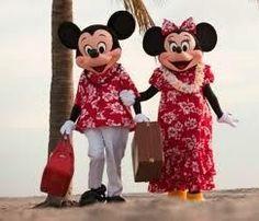 Mickey en minnie in hawaii