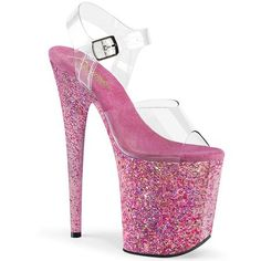 Pleaser Stripper Heels Platform Shoe Heel, Platform Ankle Strap Sandal Featuring Confetti Covering The Entire Platform Bottom Neon Heels, Platform Stilettos, Stiletto Heels, Platform Shoe, Plateau Heels, Buy Running Shoes, Flamingo Costume, Crazy Heels, Foot Powder