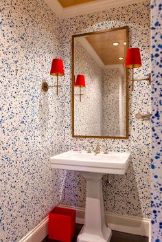 Blue splatter wallpaper with red accents - Lilly Bunn Weekes