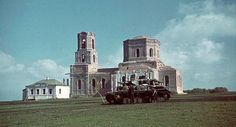PZ IV early model is standing at russian church, Sept 1942