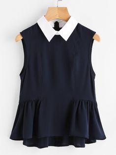 Cheap elegant blouse, Buy Quality blouse ladies directly from China ladies ruffle blouse Suppliers: Dotfashion Contrast Collar Frilled Hem Shell Plain Top Summer Navy Sleeveless Elegant Blouse Ladies Ruffle Tiered Blouse Cute Blouses, Blouses For Women, Pretty Outfits, Cute Outfits, Mode Plus, Contrast Collar, Blouse Styles, Casual Outfits, Fashion Dresses