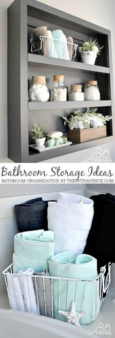 Bathroom Storage and Organization Ideas. Bathroom storage ideas can be practical and beautiful. Decorate with items that are useful. Here's a few bathroom organization tips. These storage solutions are perfect for small bathrooms or spaces that have limit Bathroom Organization, Bathroom Storage, Organization Ideas, Storage Ideas, Storage Solutions, Organized Bathroom, Storage Baskets, Bathroom Shelves, Storage Boxes
