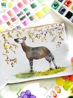 Watercolor painting of an Okapi on khadi paper Okapi, Watercolour Painting, Kids Rugs, Paper, Home Decor, Decoration Home, Kid Friendly Rugs, Room Decor, Home Interior Design