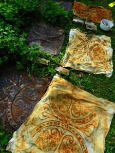 Elizabeth bunson wrap rusty ceiling tiles...weight them properly...let them rest overnight...unwrap...rinse...wash & dry new rusties...envision magical fairies packing bags ;)