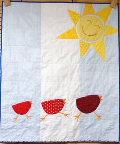 Baby quilt with three red birds and sun- appliqued, hand embroidered- yellow… Machine Embroidery Applique, Applique Quilts, Baby Quilts, Children's Quilts, Quilting Tutorials, Quilting Ideas, Chicken Quilt, Stitch Witchery, Bird Quilt