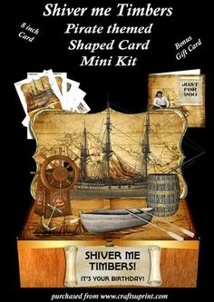 Shiver Me Timbers Shaped Card and Gift Card  on Craftsuprint - Add To Basket!