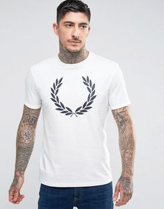 Fred Perry Slim Fit Large Laurel Print T-Shirt In White - White