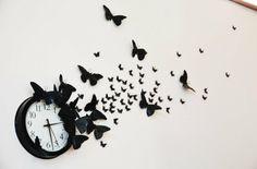 Wand Deko Ideen selber basteln schwarze Papier Schmetterlinge