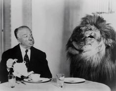 Post with 2410 views. Alfred Hitchcock serving tea to Leo the Lion, the mascot for the Hollywood film studio MGM, in 1957 Metro Goldwyn Mayer, Classic Hollywood, Old Hollywood, Mgm Lion, Film Studio, Film Director, Famous Faces, Belle Photo, Dramas