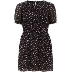 Black dotted dress ($49) ❤ liked on Polyvore