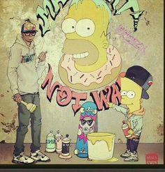 Chris Brown art with Bart Simpson Chris Brown Art, Chirs Brown, He Makes Me Happy, The Simpsons, Harley Quinn, Bart Simpson, Creative Art, Photo Art, Charity