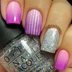 Purple and Glitter Nail Art Cute Nail Art, Beautiful Nail Art, Gorgeous Nails, Pretty Nails, Fancy Nails, Love Nails, How To Do Nails, Sparkly Nails, Opi