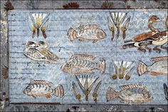 ca. 1350 BCE. Nebamun's Tomb Thebes;  Funerary Painted Pool in the Central Garden contains tilapia, mullet  and ducks. Nilotic cultures built gardens with central swimming pools. BM.