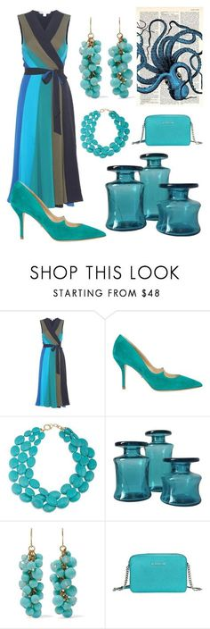 """""""Colors of the Ocean"""" by mdfletch ❤ liked on Polyvore featuring Diane Von Furstenberg, Paul Andrew, Ralph Lauren, Dansk, Kenneth Jay Lane, Michael Kors and colorsofocean"""