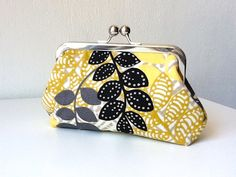 Mustard yellow grey and black clutch by DessHandbags on Etsy, $35.00