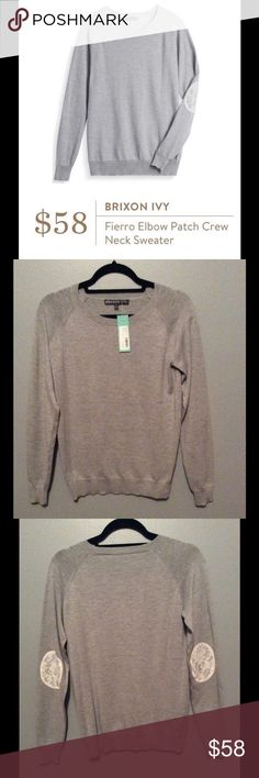 Brixon Ivy Fierro Elbow Patch Crew Neck Sweater New with tags, purchased from Stitch Fix. 80% Polyester & 20% Wool. No trades. Please submit offers using offer button or bundle for more savings! No lowball offers - remember Poshmark takes 20%. Comes from smoke & pet free home. Don't hesitate to ask any questions. Brixon Ivy Sweaters Crew & Scoop Necks