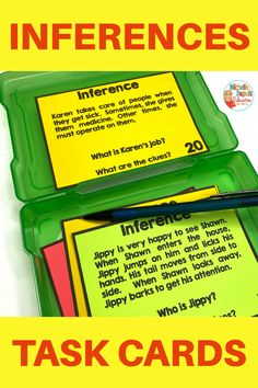 Are you looking for a fun way to work on inferences? These task cards are perfect for practicing inferring. The task cards can be placed in a center or used to work with small groups. Inference Activities, Primary Classroom, Classroom Ideas, Teaching French, Teacher Hacks, Task Cards, Small Groups, Classroom Management, Teaching Resources