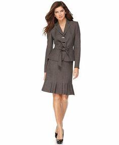 anne klein suits | Anne Klein Suit, Belted Tweed Jacket & Pleated Skirt