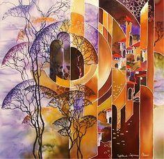 Fabric Painting, Fabric Art, Watercolor Paintings, Beautiful Paintings Of Nature, Batik Art, Silk Art, Leaf Art, Art Techniques, Collage Art