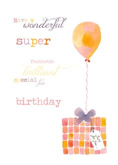 Balloon present birthday card