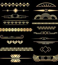 Art Deco Dividers Black and Gold, 20 PNGs, Commercial Use - # Check more at ar. - Art Deco Dividers Black and Gold, 20 PNGs, Commercial Use – # Check more at artdeko. A digital Marketing and advertising Defined Art Deco Borders, Motif Art Deco, Art Deco Pattern, Art Deco Design, Design Design, Gold Pattern, Wallpaper Art Deco, Art Deco Artwork, Arte Art Deco