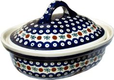 "Polish Pottery Oval Casserole Dish with Lid by Zaklady Ceramiczne ""Boleslawiec"". $67.00. Origin: Boleslawiec, Poland. Use&Care: Polish Pottery is oven- dishwasher- stove- and microwave oven safe, lead and cadmium free, resistant to chip.. Each piece of Polish Stoneware is handmade and hand-painted.. OVEN SAFE. Dimensions: Height: 5.9"" Width: 8.5"" Length: 10"". The Polish Pottery Casserole Dish with Lid is an exceptional piece of Polish Stoneware crafter`s artwork from ..."