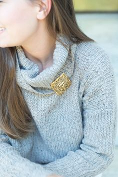 Statement Vintage Brooch Turtleneck - love this brooch. Its like the one in Ever After