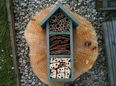 Bee and Insect Hotel, three tier, in 'Wild Thyme'. Garden Crafts, Garden Projects, Garden Art, Home Projects, Small Wood Projects, Outdoor Projects, Outdoor Decor, Outdoor Fun, My Home Design