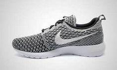 Nike Flyknit Roshe Run White Black White Dark Grey 677243 008 14 Adidas Shoes Outlet, Nike Outlet, Nike Shoes Cheap, Nike Free Shoes, Cheap Nike, Roshe Run Black, Girls Wearing Jordans, Nike Website, Nike Roshe Run