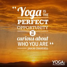 """Yoga is the perfect opportunity to be curious about who you are"" Jason Crandell"