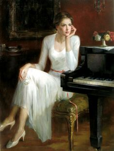 scenes at a piano. Oil Painting Abstract, Woman Painting, Painting Art, Art Paintings, Watercolor Painting, Landscape Paintings, Female Portrait, Female Art, Woman Portrait