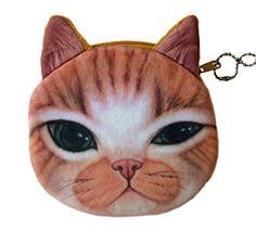 Flauschiger Kindergeldbeutel / Kinderportemonnaie / Münzbeutel / Schlüsseltasche mit süßem Katzenmotiv inkl. Katzenohren (Reissverschluss) (Hellbraun-Weiß)