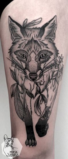 Engraving style black ink thigh tattoo of fox with plants