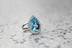 Wedding Ring. Gold Blue Topaz Ring with Diamonds Luxury Ring
