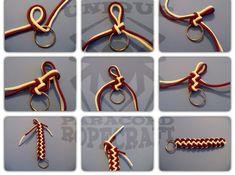 Decorative paracord designs and tutorials like the Cobra Stitch. More advanced tutorials: Paracord Bracelet Jigs and Globe Knot Turk's Head Knots.