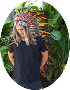 Extra Long Chief Indian Headdress, Native American - Real Feathers - Orange #TheSoundingIron #Headwear