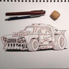 WEBSTA @ damon_moran - Inktober day 10Random deathmobile#inktober2016 #inktober #sketchbook #sketching #drawing #inking #deathmobile #dystopia #car #scifiart #paper
