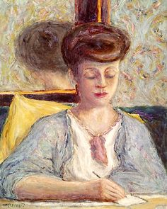 Pierre Bonnard (F, - Misia Godebska Writing - 1910 - Private collection Pierre Bonnard, Acrylic Painting Lessons, Watercolor Paintings Abstract, Watercolor Artists, Abstract Oil, Painting Art, Edouard Vuillard, Maurice Denis, Art Populaire