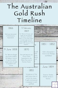 These Australian Gold Rush Timeline Cards are a great way to learn the history of gold in Australia. History For Kids, Family History, Home Education Uk, History Timeline, Gold Rush, Home Schooling, Simple Living, School Projects, School Ideas