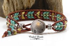 Leather Wrap Bracelet - Southwestern Picasso Leather Cuff - Turquoise, Red, and Beige Picasso Wrap - by CinfulBeadCreations on Etsy Beaded Leather Wraps, Leather Cuffs, Leather Earrings, Leather Jewelry, Leather Bracelets, Stud Earrings, Pandora Bracelets, Wrap Bracelets, Jewelry Bracelets