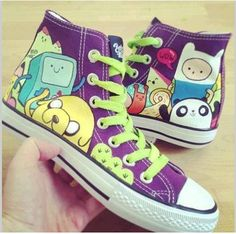 Adventure Time Custom Shoes... SHUT UP AND TAKE MY MONEY!!!!!!!! By the way... I DON'T like like futurama... I hate it with a passion!!!!