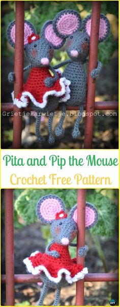 Crochet Pita and Pip the Mouse Amigurumi Free Pattern - Amigurumi Crochet Mouse Toy Softies Free Patterns