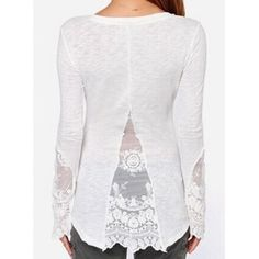 Stylish Long Sleeve Scoop Neck Solid Color See-Through Women's T-Shirt