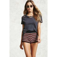 Forever21 Striped Crochet Knit Shorts ($18) ❤ liked on Polyvore featuring shorts, colorful shorts, elastic waistband shorts, transparent shorts, elastic waist shorts and macrame shorts