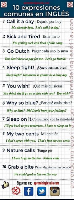 Common Spanish and English expressions.