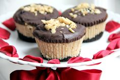 Today's recipe is for these cute Mini Buckeye Cheesecakes which have a chocolate crust, creamy peanut butter cheese cake filling, rich chocolate ganache topping, and chopped peanuts on top. Yummy! ...